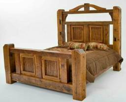 Cama rústica em madeira maciça sob encomenda