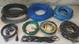 Lote Cabos Rede/Telefonia/Áudio/Óptico R$50,00 tudo
