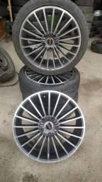 Rodas 18 com pneu 8 polegadas.