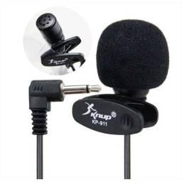 Microfone De Lapela 90cm Clip Prendedor Knup Kp-911 P2
