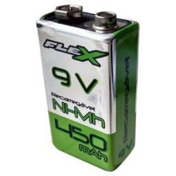 (WhatsApp) bateria 9v 450 mah - recarregável - flex