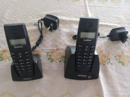 Telefone sem fio intelbrás.Dois aparelhos semi novos, bi volt. 80,00 cada