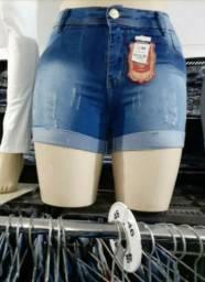 Bermudas Jeans Com Lycra Cintura Alta Tamanhos 46/48