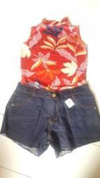 Combo Blusa + Short - Blusa Regata Gola Alta Blogueira + Short Jeans Cintura Alta