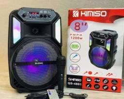 Caixa De Som Karaokê Bluetooth Kimiso QS-4801 Microfone Usb Fm Aux