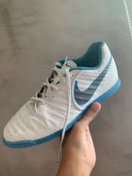 Chuteira Futsal Nike Tiempo Legend 7 - Branco+Azul