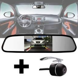 Espelho Retrovisor Tela Lcd Camera De Ré Borboleta Universal