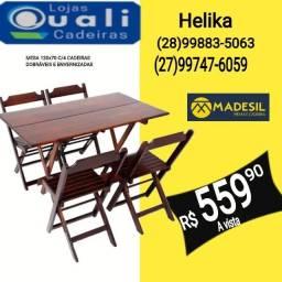 Jogo de mesa 1,20 cm x 70 com cadeiras