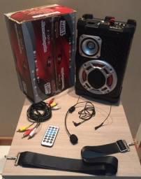 Caixa de Som Portátil Amplificada - Mini System Karaokê -Trade Audio (Radio/ FM/ Sd/ Usb)