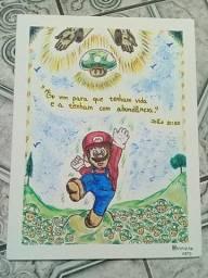 Pintura do Mario recebendo vida em abundância!