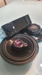 Multimídia c/ câmera de ré + Par alto-falantes