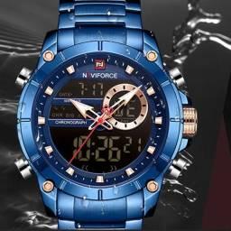 Relógio de Luxo Naviforce 9163 Digital Á Prova d'água 30m Entregamos