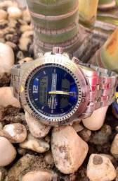 Relógio Atlantis analógico e digital.