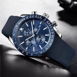 Relógio Masculino Benyar 5140 Original Prata C/ Azul