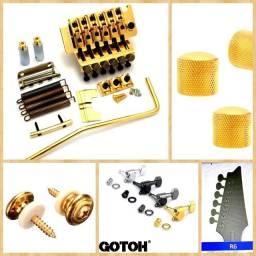 Título do anúncio: Kit Dourado Ponte Floyd Rose Gotoh E Tarraxas Wilkinson e Gotoh Roldana Knob Dourado