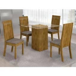 Promoção - Conjunto Sala de Jantar 4 Cadeiras Estofadas - Só R$849,00