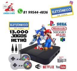 Vídeo game retro com 13 mil jogos + 4 controles + 32Gb só zap