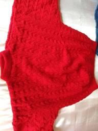Blusão Feito A Mão De Lã Pura Novos