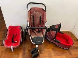 Título do anúncio: Carrinho de bebê + bebê conforto + Moisés da marca Quinny