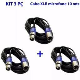 Cabos De Microfone Kit 3 Pç Xlr Canon Macho Femea 10 Mts