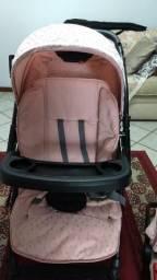 Carrinho de Bebê + Bebê Conforto Burigotto Lyra Angel Rosa 3 posições