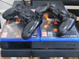 Ps4 - Sony Playstation 4 Fat 500GB - Preto - 2 Controles