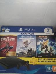Playstation 4 Slim Console + Controle, + 2 jogos lacrados (sem o homem aranha)