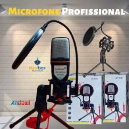 Microfone Condensador Com Tripé e Filtro Anti Puff