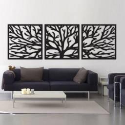 Quadro Abstrato Escultura Parede Mdf Vazada Árvore- Galhos