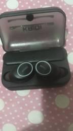 fone de ouvido sem fio via Bluetooth kaidi com caixa para carregar o fone