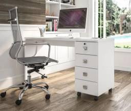 Escrivaninha para Computador com 4 gavetas - branco brilhante - Nova (Na caixa)