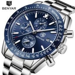 Relogio Benyar 5140 Original Luxo Azul Aço Inoxidável