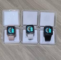 Relógio smartwatch D20 y68 rosa preto e branco