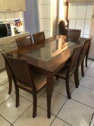 Mesa com 6 cadeiras Embuia Madeira Maciça
