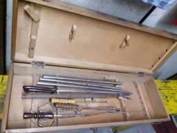 Kit Churasco, usado, maleta de madeira