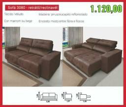 Líquida sofá retratil/reclinável tecido veludo cores marrom ou bege