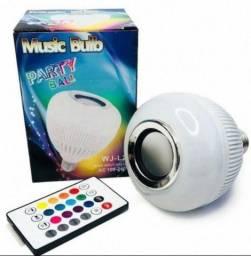 Lâmpada Led Caixa Som Bluetooth Música Com Controle 2 Em 1 Mp3