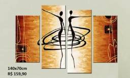 Quadros pintados em óleo sobre tela com relevo 140x70cm - até 12x - zap 71-98727*7619