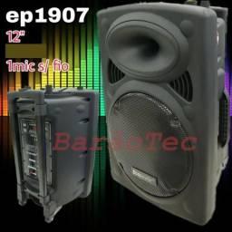 Caixa De Som Amplificada Ecopower EP-1907 - Bluetooth USB 1 Microfone S/ Fio