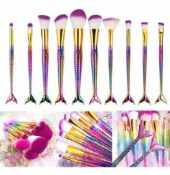 Kit 10 pincéis profissionais maquiagem