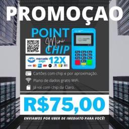 Maquina de Cartão MINI CHIP - ACOMPANHA CHIP COM INTERNET GRÁTIS.