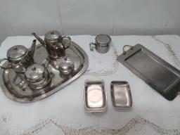 Conjunto de chá em prata - 9 peças