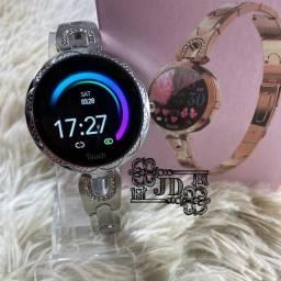Relógio inteligente feminino - monitoramento Exercicios, notificações