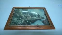 Porta Chaves Retrato Rústico Quadro em Madeira anos 70 Genuíno