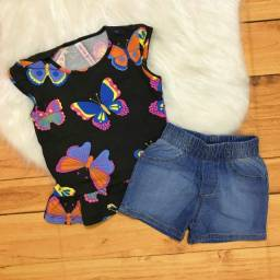 Ref118 - Conjunto Cativa Borboletas Com Short Jeans Moda