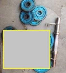 Fitness - 01 Barra de 40 cm e 04 Anilhas com Presilhas de 1 Kg