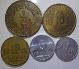 Título do anúncio: Peru - Set 5 Moedas - 1,5 E 10 Céntimos, 1/2 E 10 Sol De Oro