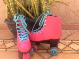 patins retrô 4 rodas tam 39/40 rosa - usado