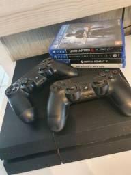 Título do anúncio: Playstation 4, 2 controles sem fio, 4 jogos