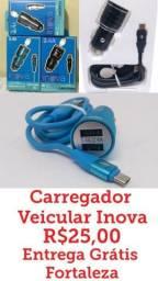 Carregador Veicular Inova 3.4 A Usb Duplo Com Cabo